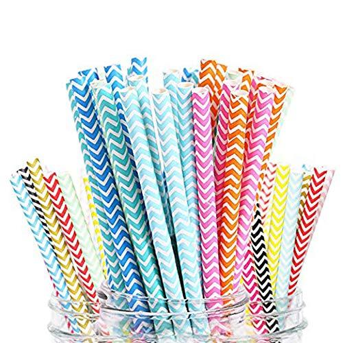 Papier pailles Lot de 200pailles en papier Bulk biodégradable recyclé Rainbow Décorations pour Fournitures de fête d'anniversaire de mariage Baby Shower Valentine Rainbow Lollipop Multicolore