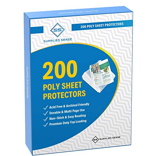 200 Page Protectors 8.5 x 11, Top Loading / 3 Hole Design Sheet Protectors, Archival Safe for Photos or Printed Copy, Holds Multiple Sheets (200)