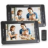 WONNIE 10.1 Pouce Lecteur DVD Portable Voiture pour Enfant (1 Lecteur DVD et 1 Moniteur) avec Sangle Fixation,Batterie Rechargeable Intégrée de 5 Heures,Prise en Charge USB/SD/AV in/AV Out