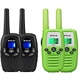 Retevis RT628 Walkie Talkie for Kids,Toy for 3-12 Year Old Boy Girl(Black,2 Pack) and Retevis RT37 Walkie Talkies for Kids,Outdoor Toys Gifts for 4 to 12 Year Old Boys Girls(Green, 2 Pack)
