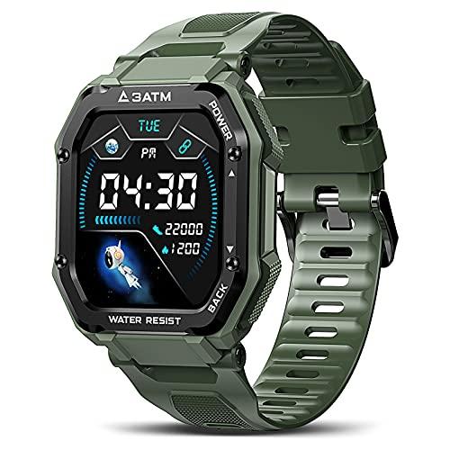 KOSPET Rock Smartwatch Herren 1.69 Zoll Voll Touchscreen Sportuhr 3ATM Wasserdicht Fitness Tracker 20 Sportmodi mit Blutdruckmessung Pulsuhr Schrittzähler iOS Android Kompatibel, Grün