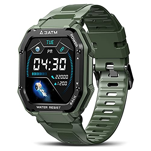 KOSPET Rock Reloj inteligente para hombre, pantalla táctil de 1,69 pulgadas, reloj deportivo, resistente al agua hasta 3 ATM, 20 modos deportivos, pulsómetro, podómetro, compatible con iOS Android