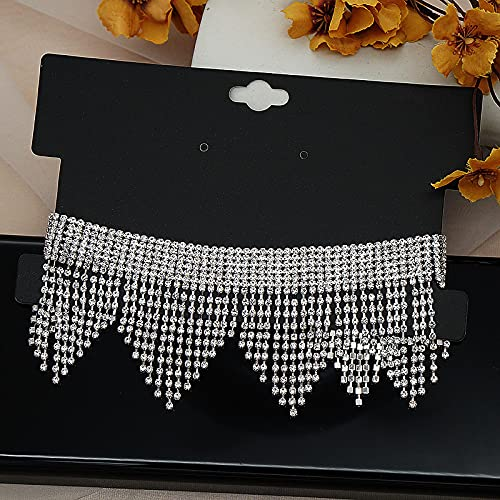 YZYZ Grupo De Mujeres Coreanas del Mismo Estilo Europeo Y Americano Feng Shui Pendientes De Borlas De Diamantes Conjunto De Collar Cena Vestido De Fiesta Anual Collar Gargantilla