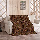 Tcoapy Paisley Throw Blanket Vintage Multicolored Leaf Flower Motif Earth Tones Sherpa Fleece Bedding Bedspread Flannel Warm Microfiber Sofa Blanket Couch Bed 50' x 60'