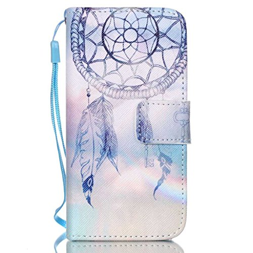 UNEXTATI iPhone 5 / 5s ケース 手帳型ケース カバー ウォレット型ケース PUレザー 収納 耐衝撃 全面保護 Apple iPhone5ケース iPhone5s ケース Case (ブルー, P8)