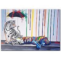 キャンバス上のタイガーグラフィティアートポスター絵画現代抽象ストリートポップアートキャンバス壁アート家の装飾のための写真プリント70x100cmフレームレス
