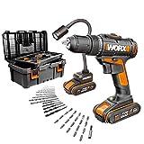 Worx WX977 Taladro Atornillador 30Nm 16 Posiciones, lámpara Flexible 20V, maletín 35 Accesorios, Incluye 2 baterías