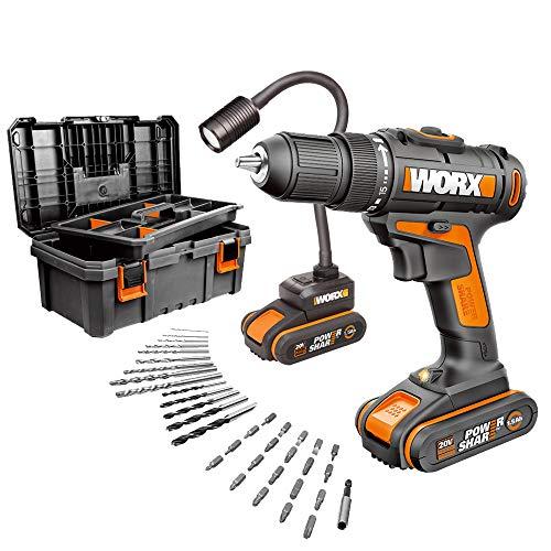 Worx WX977 Taladro Atornillador 20V 30Nm 16 posiciones, lámpara flexible batería 20V, maletín 35 accesorios, incluye 2 baterías