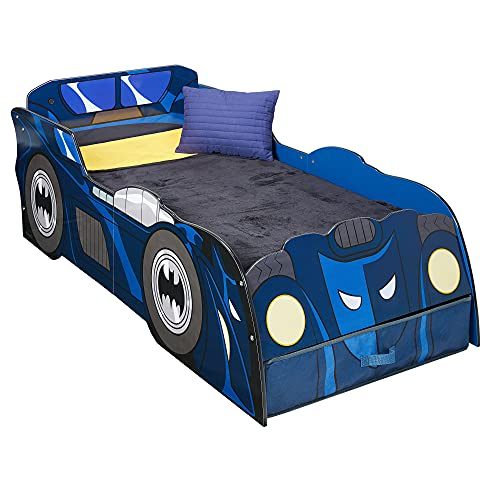 Batman Cama Infantil con la Forma del Batmóvil Luces y un cajón de Almacenamiento, Blue, 158(L) x 73(W) x 54(H) cm