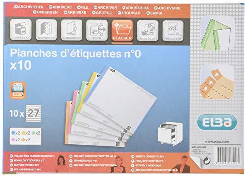 Elba 100330192 - Pack de 10 hojas de 27 etiquetas para carpetas colgantes para cajón