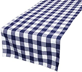 GFCC 14 x 72 -Inch 100% Polyester,Navy Blue & White Check Table Runner for Christmas Holiday Party Decor