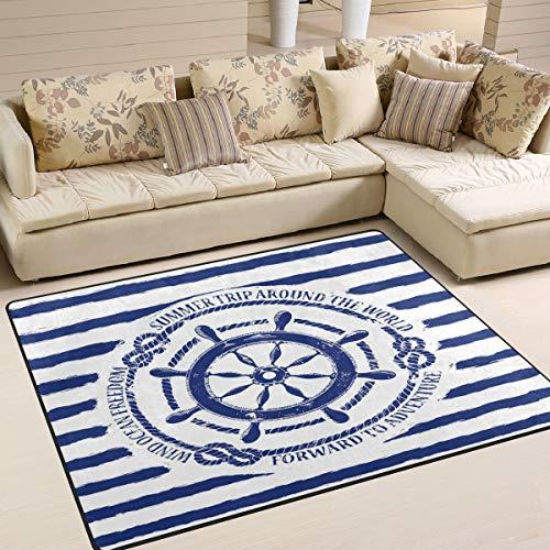 Use7 - Alfombra náutica para sala de estar, dormitorio, 160 x 122 cm, color azul y blanco