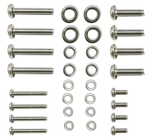 48 Piece TV Mount Screws M4 M5 M6 M8 Screws with Washers for Wall Mount Bracket 304 Stainless Steel, Fit for Samsung LG Vizio Philips Sony Bravia Sharps and More