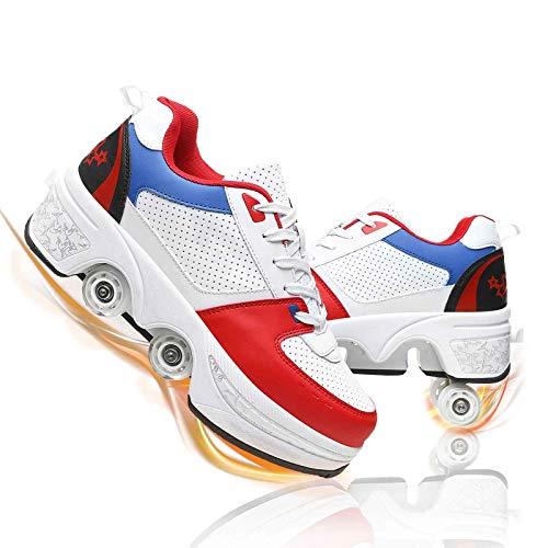 MQJ Patines Patines para Niños Zapatos de Patinaje Adulto de la Deforión Infantil Zapatos de Rodillo de Polea Invisible Zapatos de Polea Automáticos Zapatos para Caminar Automáticos Cómodos Transpira