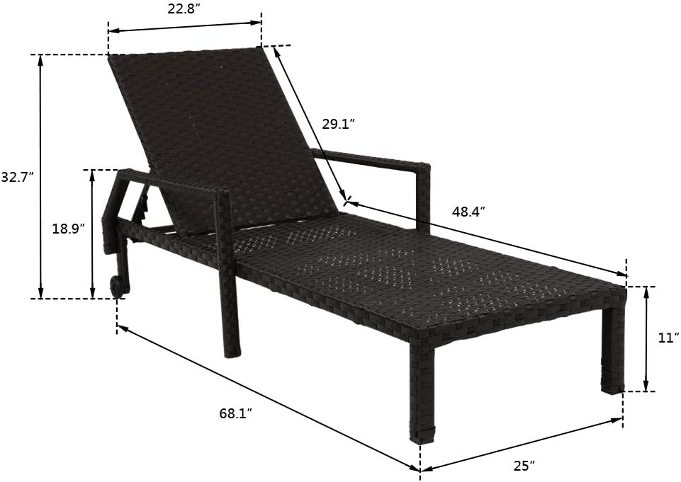 VINGLI Adjustable Patio Chaise Lounge Chair with Wheels Patio Poolside Outdoor Wicker Patio Lounge Chair with Cushions 5 Position Adjustable Backrest Rattan outdoor Lounge Chair for Garden Black