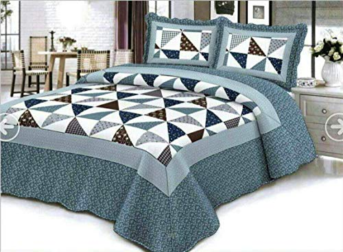Empire Home Traditional Reversible 3-Piece Quilted Bedding Bedspread Coverlet (Blue & Brown, Full Size)