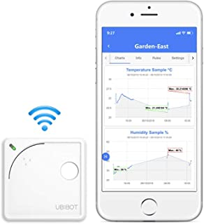UbiBot, dispositivo con termometro wireless con WiFi, controllo di temperatura a distanza, umidità, con monitor luminoso, ...