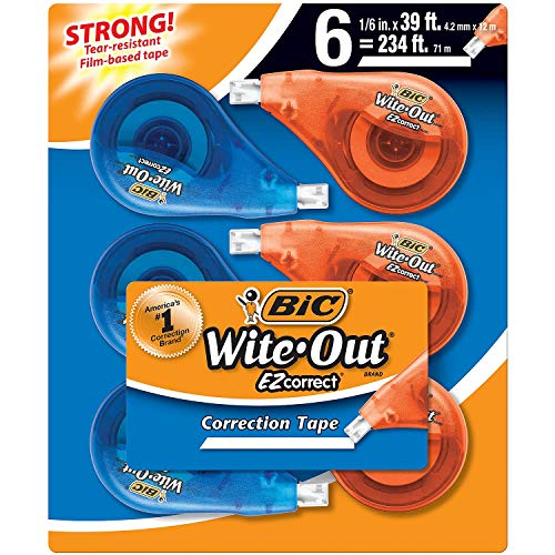Two Pac BIC America Wite Out Correction Tape - 12 Count