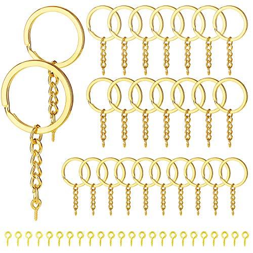 60 anillos de oro con cadena de tornillo, llavero dividido con cadena de extensión, anillos de salto abiertos y pernos de ojo de tornillo a granel para hacer manualidades, joyas, llaveros, accesorios