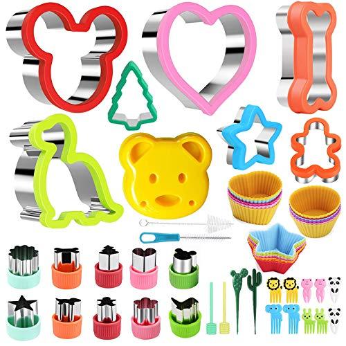 Nifogo Ausstechformen Plätzchen Ausstecher Sandwich Ausstecher, Cookie Cutters Set 43 PCS für Kinder, Gemüse Obst Ausstecher Edelstahl, Hundeknochen, Micky Maus Dinosaurier, Stern, Herz