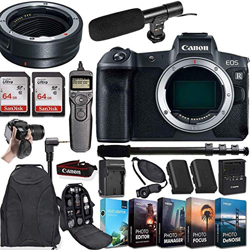 CanonEOS R Mirrorless Digital Camera (Body Only) and Mount Adapter EF-EOS R Bundled + Deluxe Accessories (Renewed)