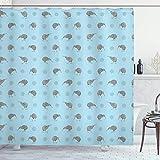 N\A Graublauer Duschvorhang, Kiwi Birds Indigene neuseeländische Tiere Doodle Style Tropical Wildlife, Stoff Stoff Badezimmer Dekor Set mit Haken, Blau & Grau
