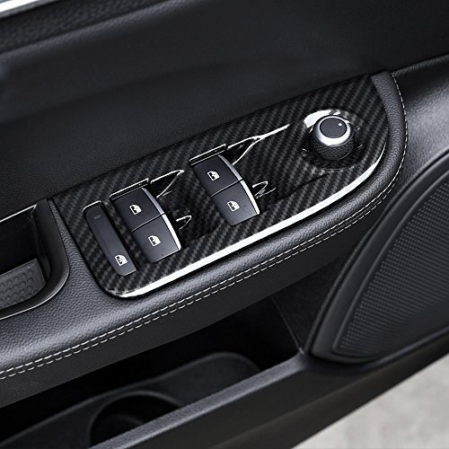 Lot de 4 cadres autocollants en fibre de carbone pour interrupteur de fenêtre Giulia 2016 2017 2018 ABS chromé