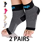 Dowellife Plantar Fasciitis Socks, Ankle Brace Compression Support Sleeves & Arch Support, Foot Compression Sleeves, Ease Swelling, Achilles Tendonitis, Heel Spurs for Men Women (Black 2 Pairs, Large)