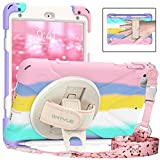 BATYUE iPad Mini 5 Case,iPad Mini 4 Case, Shockproof Protective Rugged Case with Pencil Holder,Hand Strap,Kickstand, Shoulder Strap for iPad Mini 5th/4th Gen 7.9 Inch for Kids (Colourful Pink)