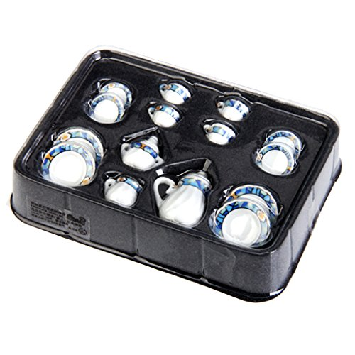 15pcs Ustensiles de Thé Miniatures en Porcelaine pour Maison de Poupées
