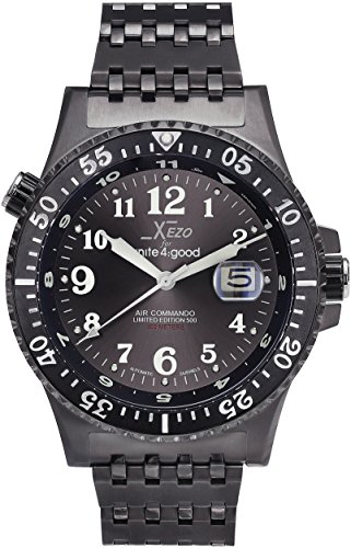 Xezo Air Commando Japanese-Automatic Diver's Pilots Gun-Metal Watch. Ruthenium Sunburst Dial. 2nd Time Zone. 300 M WR