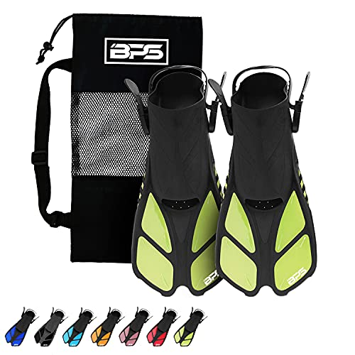 BPS Swim Fins - Open-Toe and Open-Heel Design - for Free Diving, Snorkeling, Scuba Diving - Adjustable Swim Flippers for Kids and Adults - Unisex - with Carrier Bag (Translucent Yellow Green - L/XL)