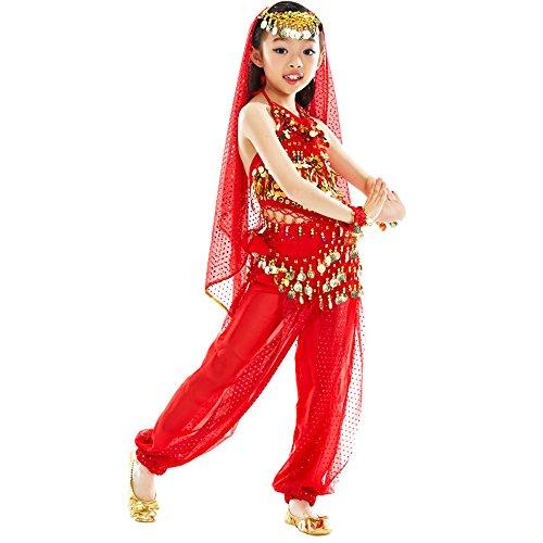 BOZEVON Niños niñas Danza del Vientre Lentejuelas Traje de Baile Indio, Tops + Pantalones + Cadena de la Cintura + Cadena de la Cabeza + Velo + 2 Pulseras (Rojo,EU M = Tag L)