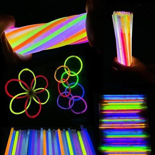 MEIRUIER Solamente 100 Varitas Luminosas y 100 Conectores Reutilizables Varitas Luminosas Fluorescentes Pulseras Luminosas para Fiestas Formar Pulseras (100pcs(Colour))