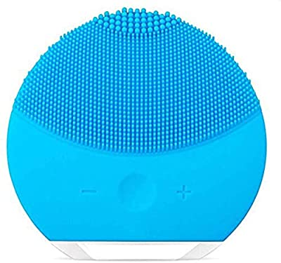 Silicone Facial Cleanser,Rosarden Facial Cleansing Brush Sonic Electric Waterproof Silicone Face Massager Anti-Aging Skin Cleansing System for All Skin Types (Blue)