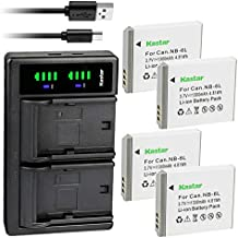 Kastar 4-Pack NB-6L Battery and LTD2 USB Charger Replacement for Canon PowerShot SX280 HS, PowerShot SX500 is, PowerShot SX510 HS, PowerShot SX520 HS, PowerShot SX530 HS, PowerShot SX540 HS Camera