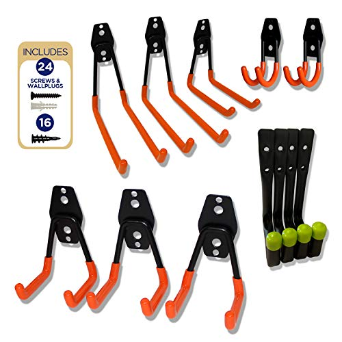Heavy Duty Wall Hooks 4-Pack Plus 8-Pack Steel Garage Hooks - Wall Mount Hanging Hooks Tool Organizer Holds 40 Lbs Each - Rust Resistant Double Hooks for Garden and Garage Tools Organization
