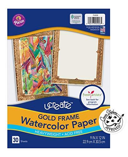 Pacon Art1st Gold Frame Watercolor Paper, 9' x 12', 30 Each Set