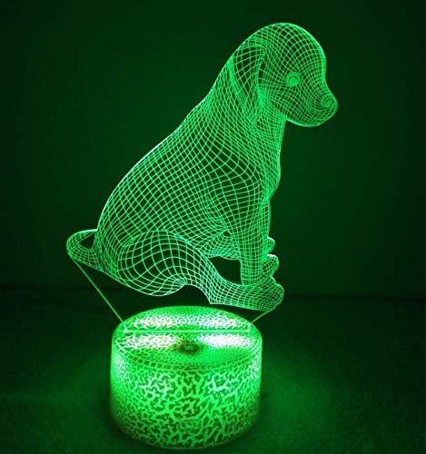 3D Haustier Hund Nachtlicht USB Power Touch Schalter Dekor Tisch Schreibtisch Optische Täuschung Lampen 7 Farbwechsel Lichter LED Tischlampe Weihnachten Zuhause Liebe Brithday Kinder Kinder Dekor Sp