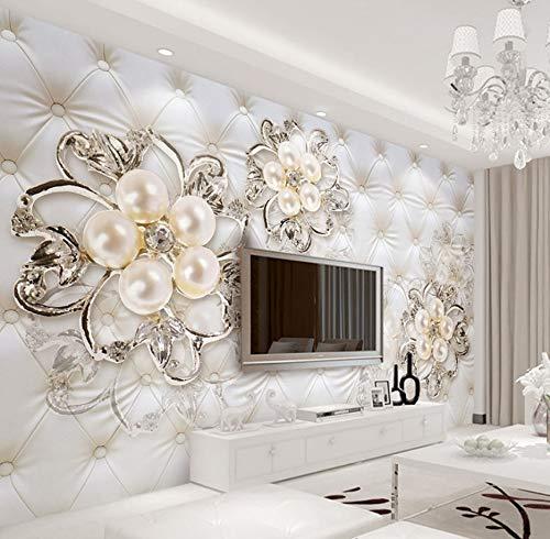 WH-PORP 3D Tapete Fantasy Europäischen Stil Soft Pack Stereo Relief Perle Blumen Tv Hintergrund Wandbild Hotel Wohnzimmer Luxus Foto 3D Tapete-200Cmx140Cm
