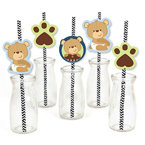 Baby Boy Teddy Bear Paper Straw Decor - Baby Shower Striped Decorative Straws - Set of 24