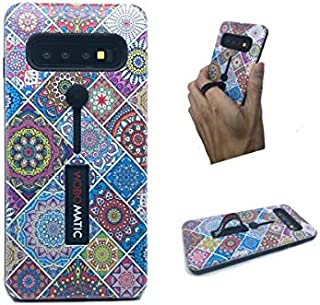 Slim TPU Phone Case Compatible with Galaxy S10 2019 6.1 Inches Screen Models with Silicone Ring Holder and Finger Wrap (Multi Mosaic)