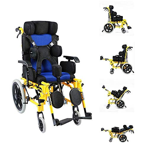 PORU multifunctionele volledig liggend Amp; handmatige rolstoel met platte rugleuning voor gehandicapte kinderen – eenvoudige inklapbare kinderrolstoel hy