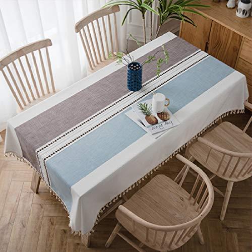 shiyueNB CANIRICA tafel cover unieke streep design kwast hanger tafelkleed leven waterdicht linnen tafelkleed huisdecoratie tafelkleed 140x160cm