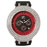 Diamond King Men's Z Collection White with Red Dial Watch- Iced Out, JoJo, Kc, Super Master, Round face.