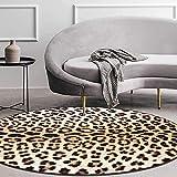 GLXLSBZ Alfombras Redondas, Moderna Alfombra con Estampado de Leopardo y Tigre para Dormitorio decoración de Sala de Estar felpudos de salón alfombras para pies alfombras Cesta Silla cojín