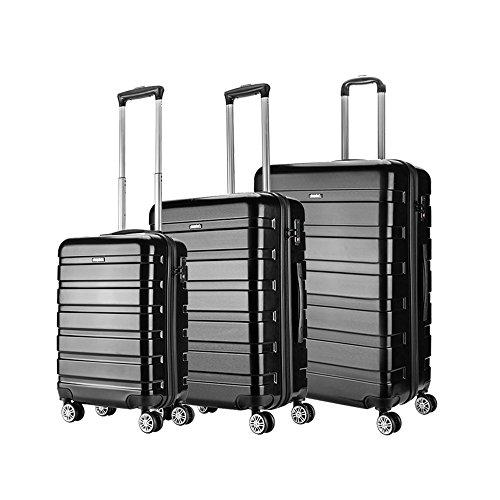 AMASAVA-Set of Tres Maletas Juego de Maletas Rígidas,Candado TSA, ABS+PC,4 Ruedas multidireccional, Negro