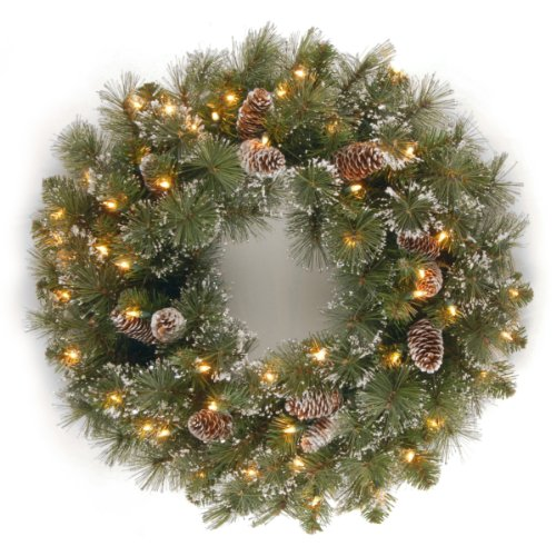 National Tree Company Pre-lit Artificial Christmas Wreath | Flocked with Mixed Decorations and Pre-strung White Lights | Glittery Pine - 24 Inch
