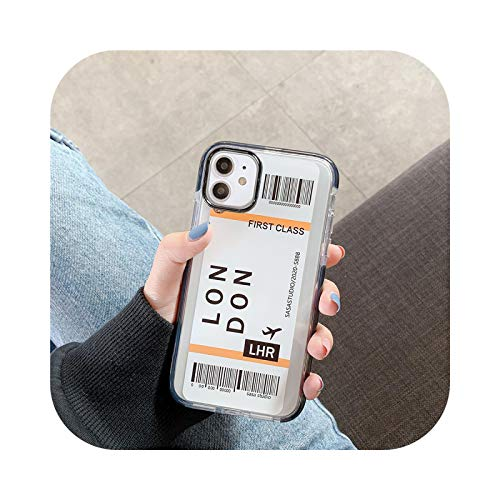 New York Los Angeles Paris Tokyo City Label Bar Code Case for iPhone X XS MAX 11 Pro 12 7 8 Plus luxury travel air ticket cover-London-for iPhone X XS