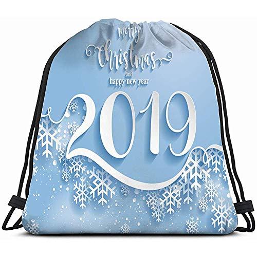 Sack Cinch Tote, Vrolijke Kerst Groeten Kaart Sjablonen Mooie Vakantie 2019 Trekkoord Rugzak Voor Kinderen Jongens Meisjes Tieners Verjaardag, Gift String Bag Gym Cinch Zak Voor School En Party